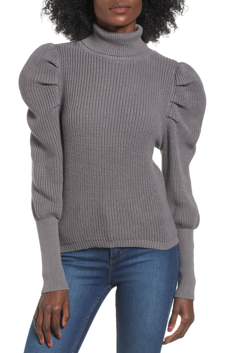 LEITH Puff Sleeve Turtleneck Sweater, Main, color, GREY DECEMBER