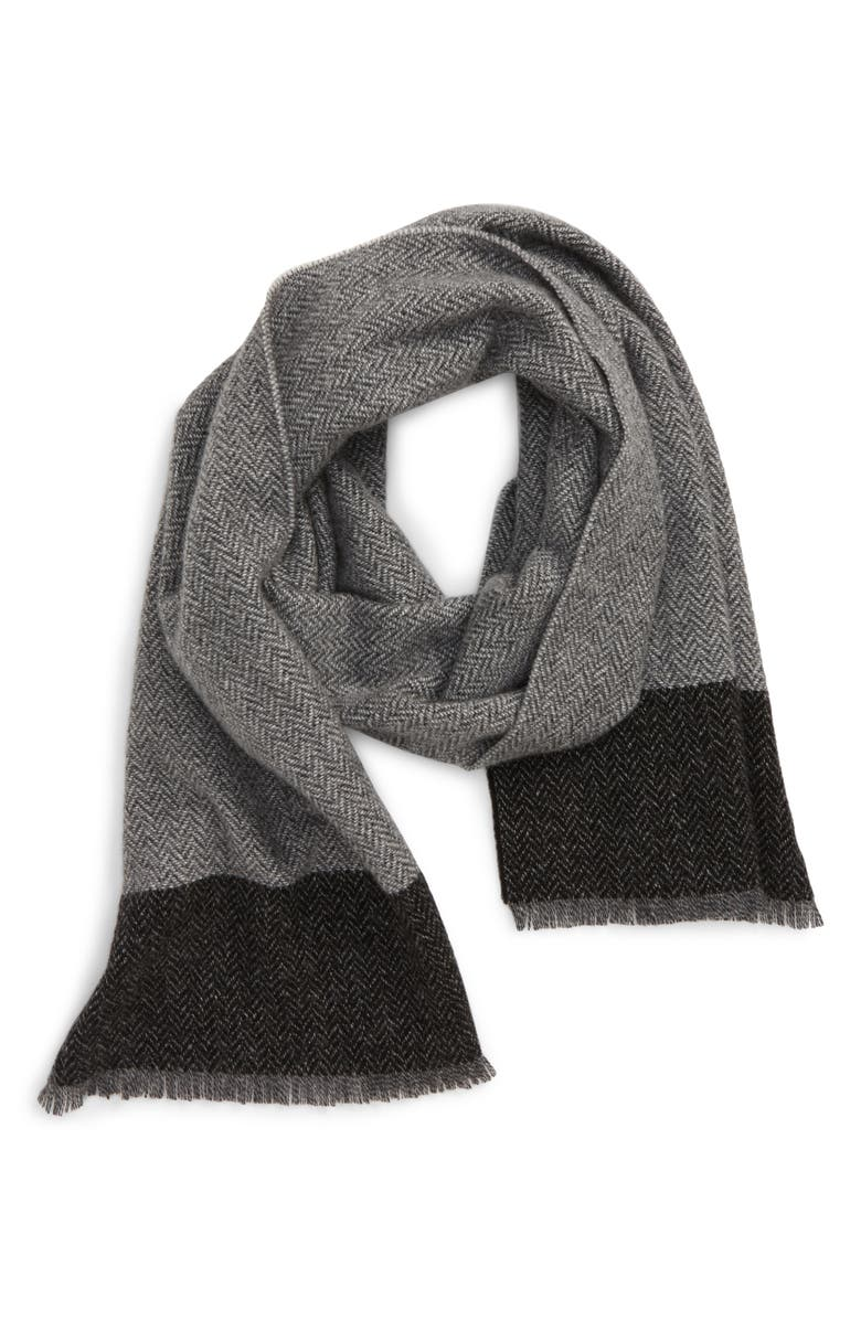 ANDREW STEWART Andrew Steward Herringbone Border Stripe Cashmere Scarf, Main, color, BLACK