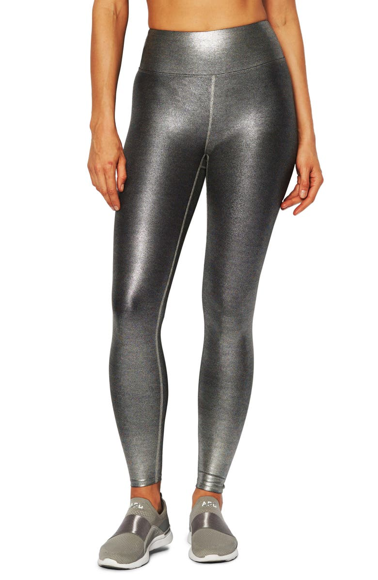 HEROINE SPORT Marvel Metallic High Waist Leggings, Main, color, BRUSHED PLATINUM