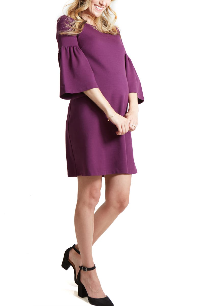 INGRID & ISABEL<SUP>®</SUP> Bell Sleeve Ponte Knit Maternity Dress, Main, color, 500