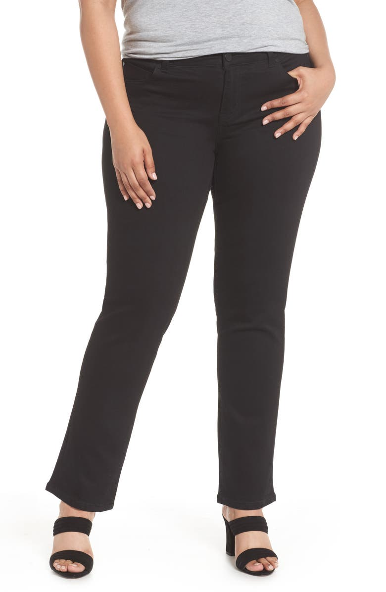 LIVERPOOL Sadie Stretch Straight Jeans, Main, color, BLACK RINSE