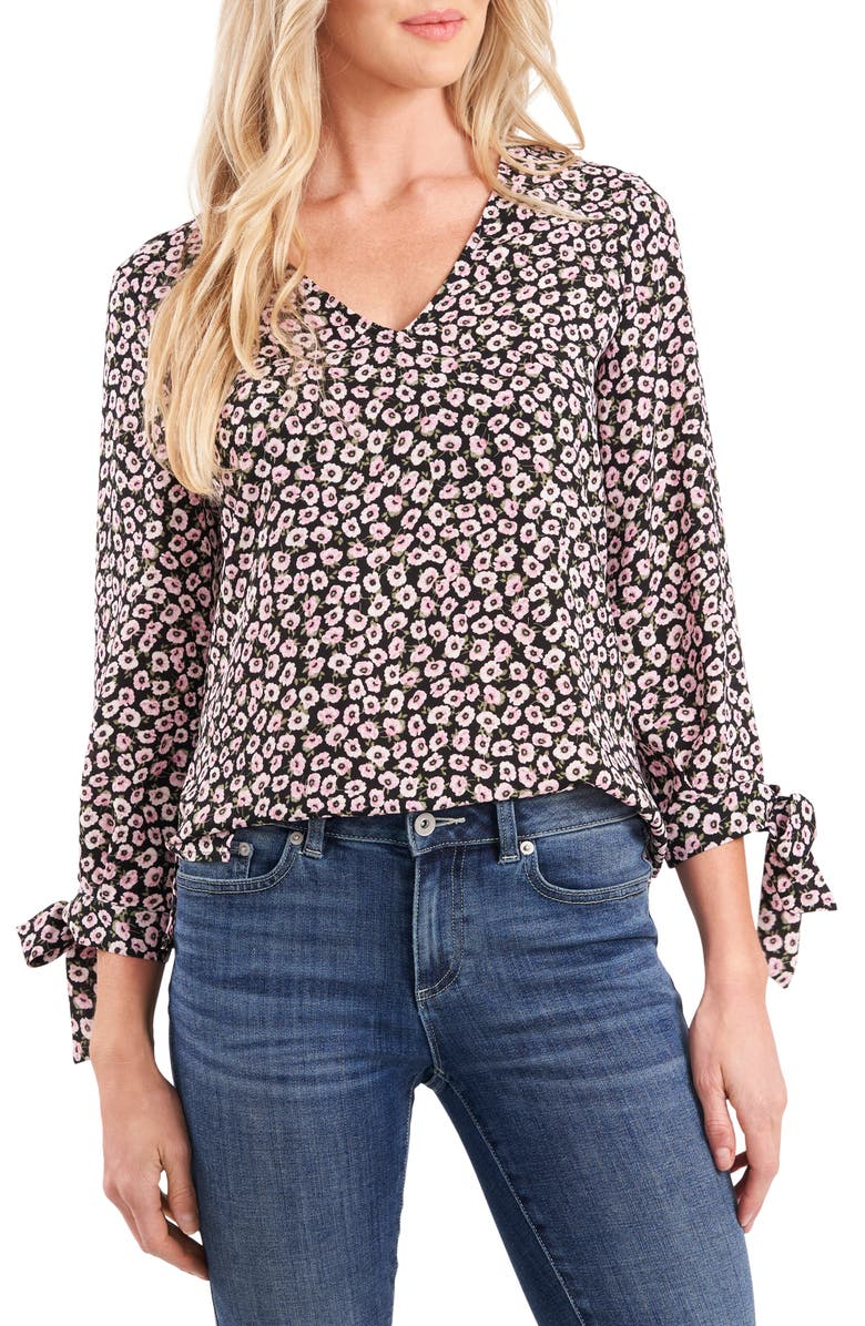 CECE Floral Tie Sleeve Blouse, Main, color, SWEET ROSE
