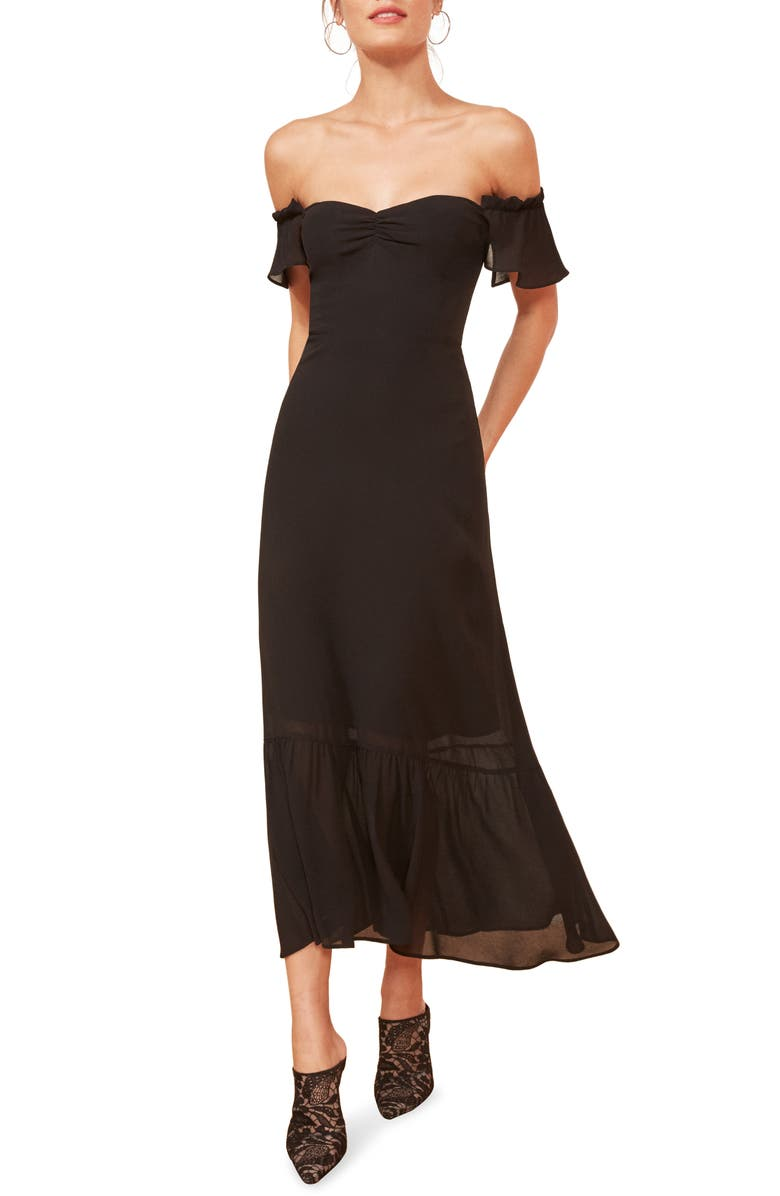 REFORMATION Butterfly Midi Dress, Main, color, 001
