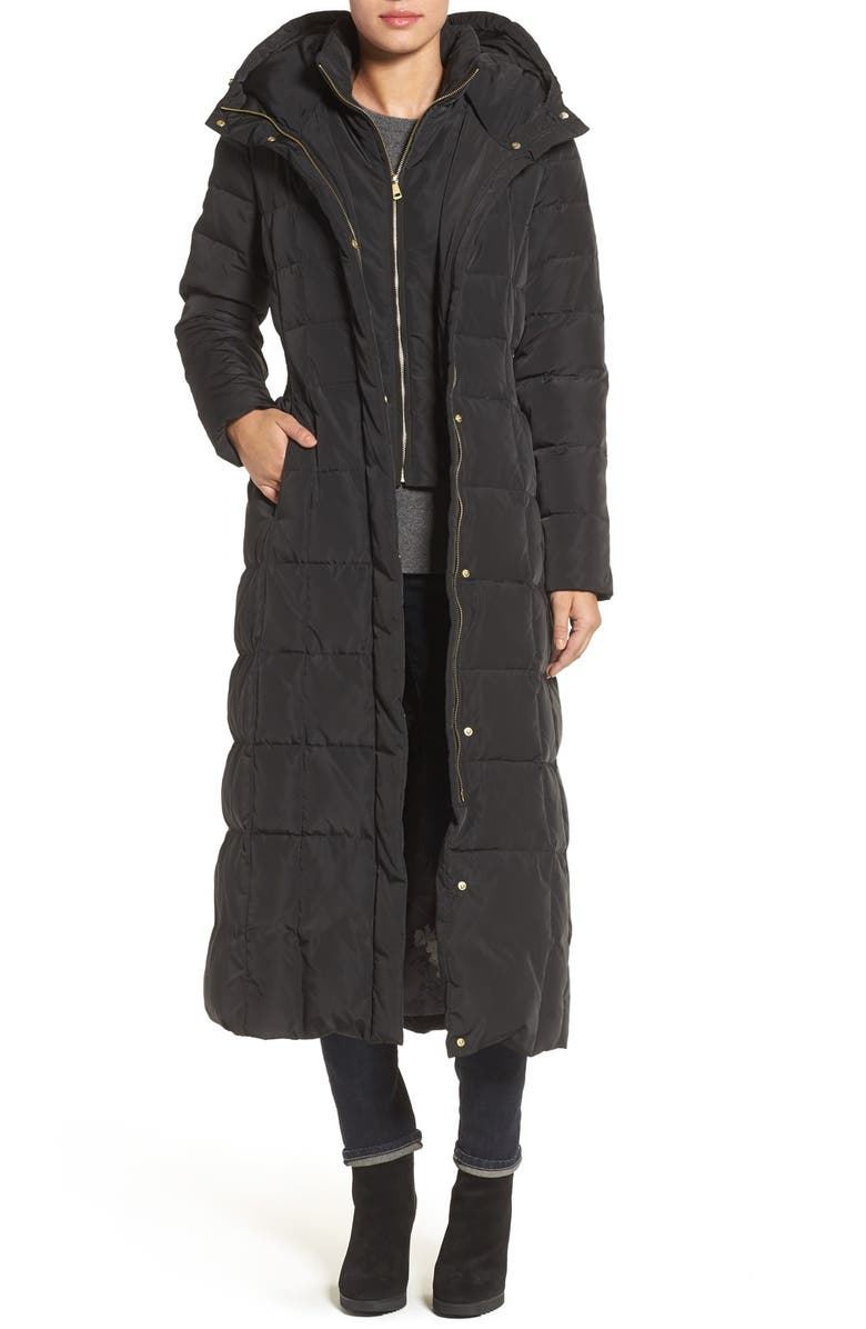 COLE HAAN SIGNATURE Cole Haan Quilted Coat with Inner Bib, Main, color, BLACK