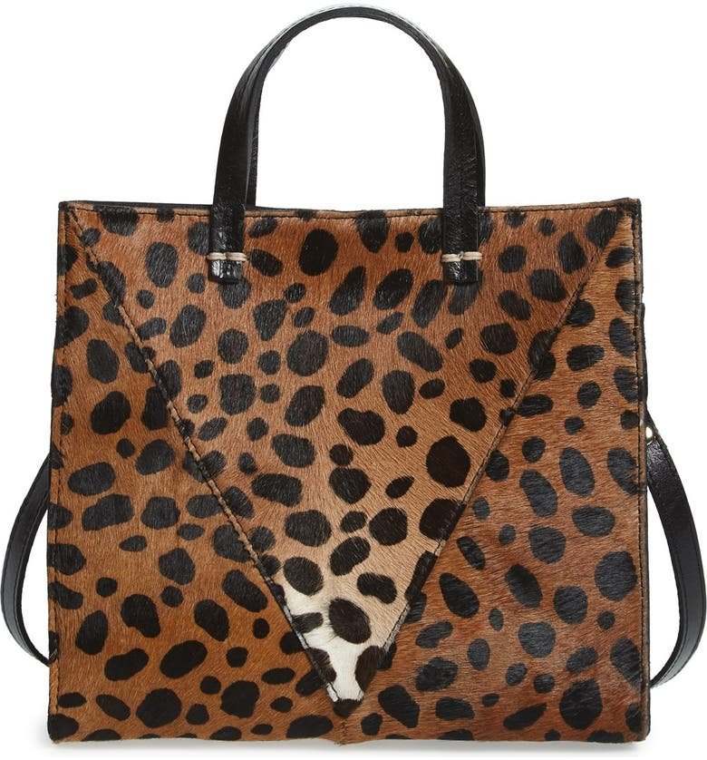 CLARE V. 'Petit Simple' Leopard Print Genuine Calf Hair Tote, Main, color, 200