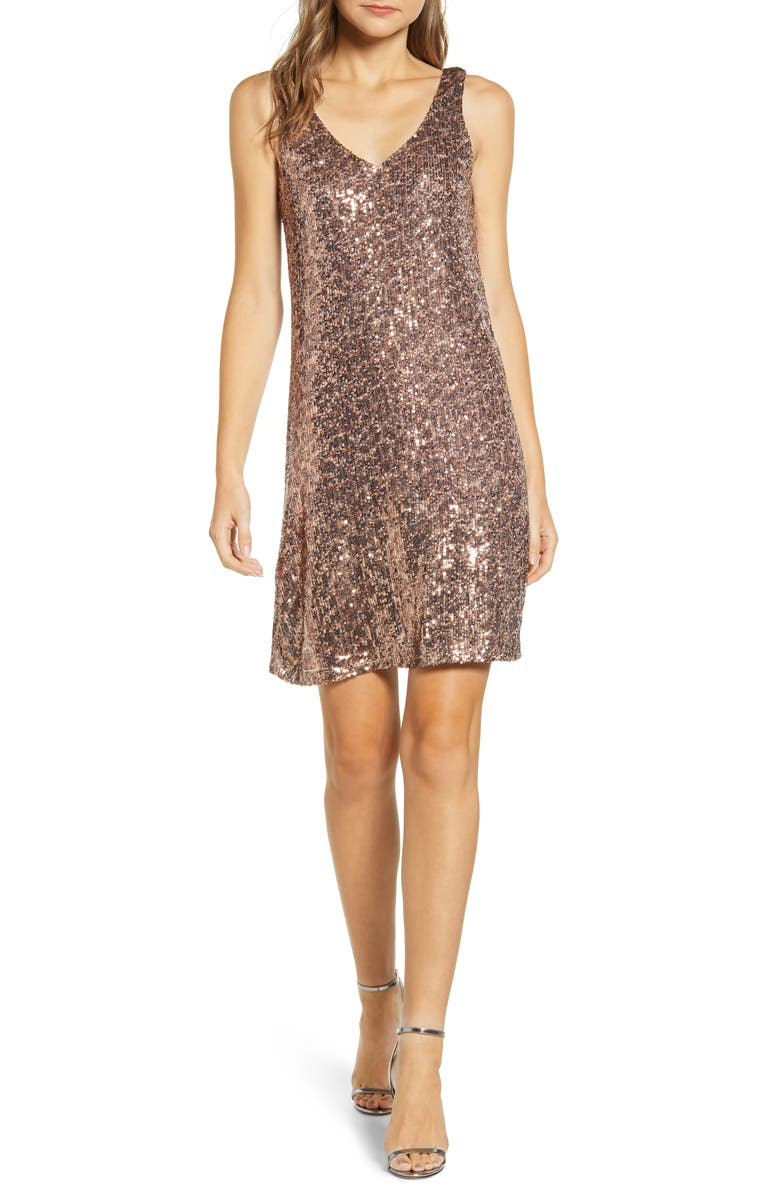 GIBSONLOOK Gibson x Hi Sugarplum! Holiday Soirée Sequin Shift Dress, Main, color, 302