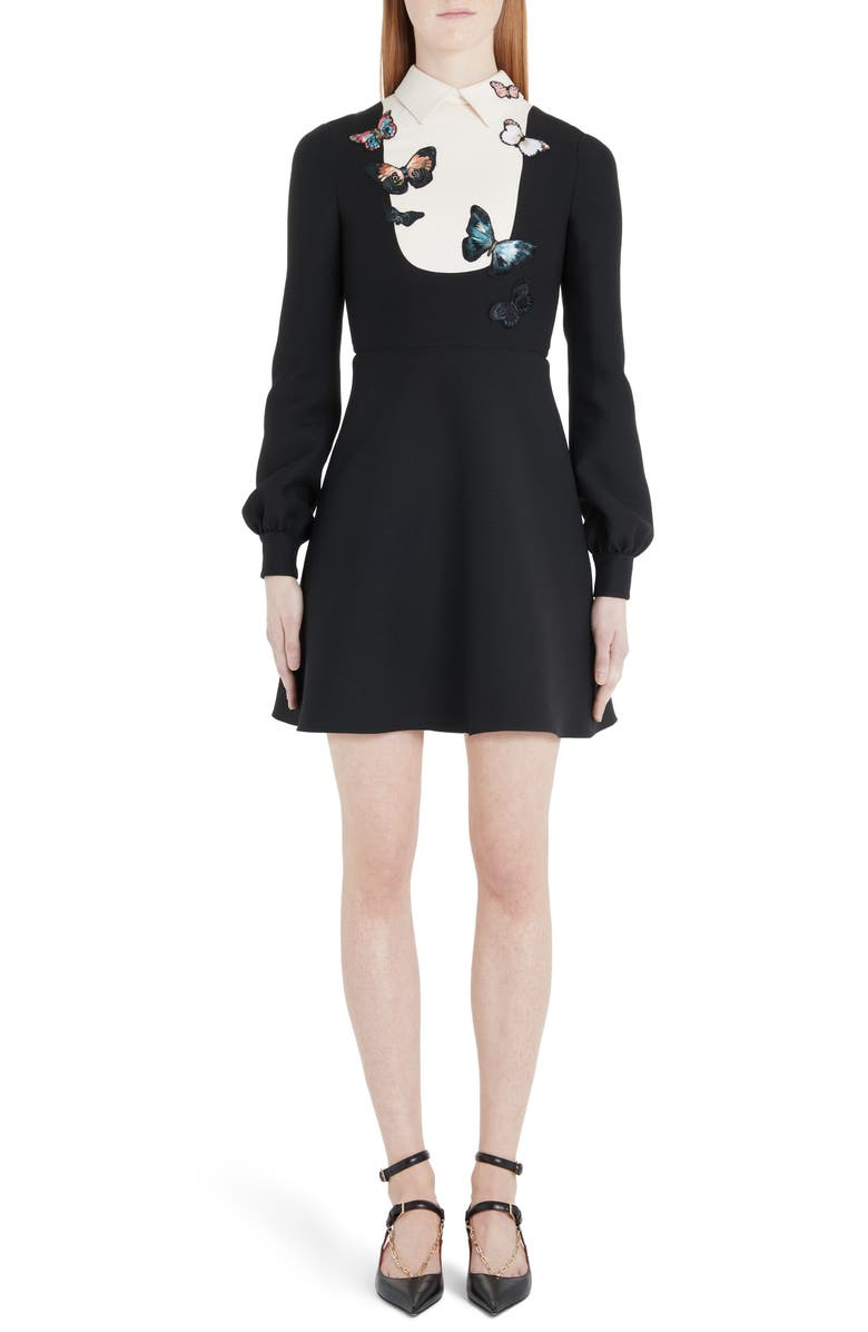 VALENTINO Butterfly Embroidered Long Sleeve Contrast Bib Minidress, Main, color, 001