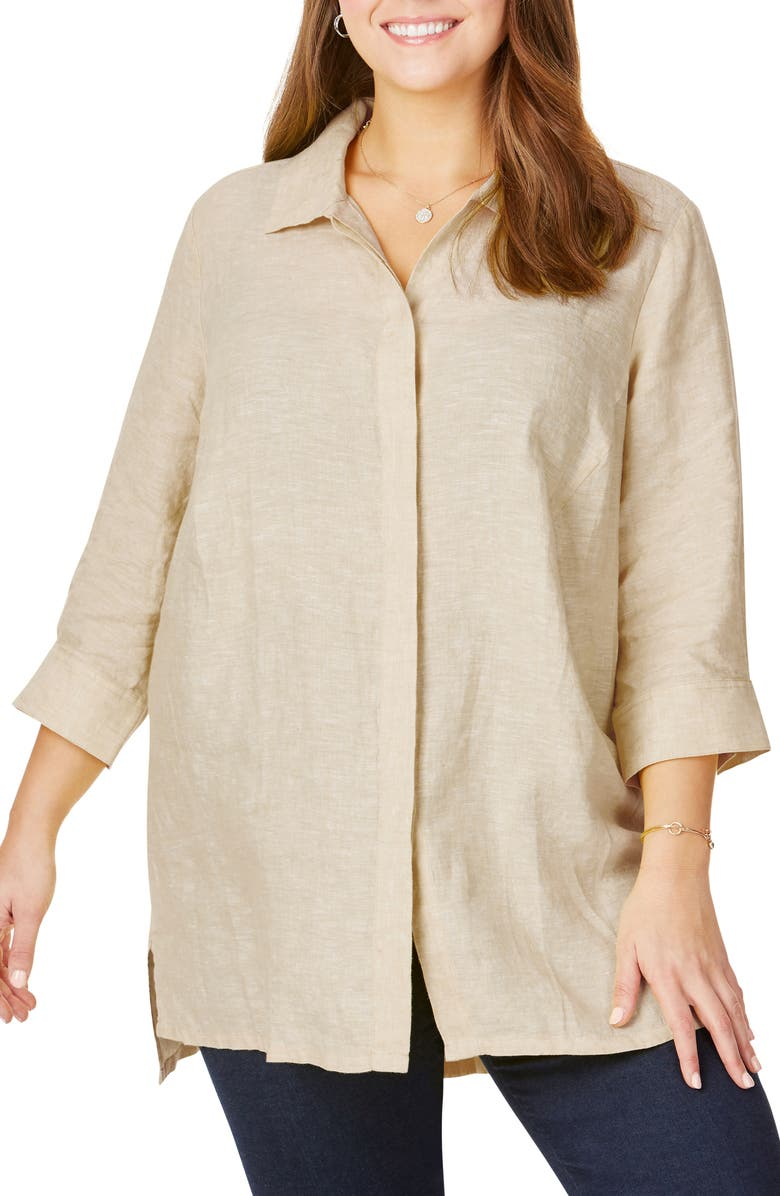 FOXCROFT Chambray Linen Tunic Shirt, Main, color, 279