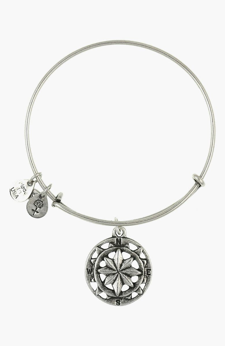 ALEX AND ANI 'Compass' Expandable Wire Bangle, Main, color, SILVER
