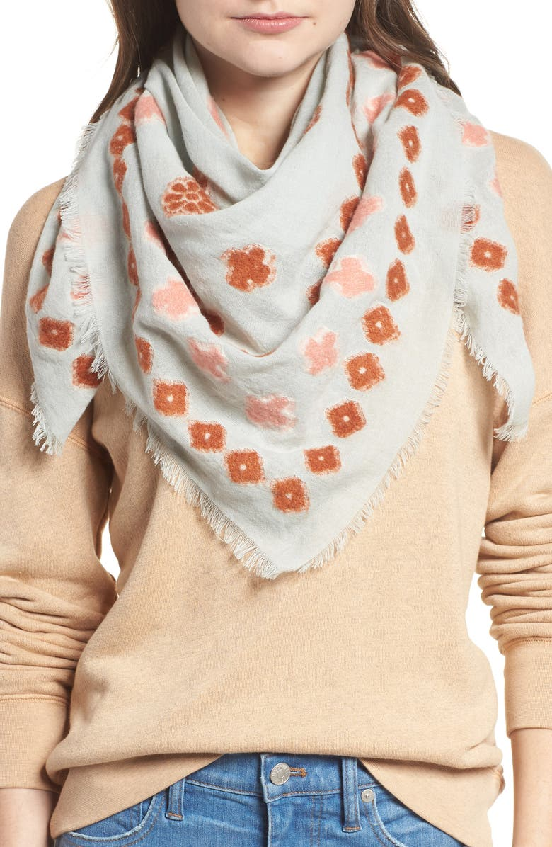 MADEWELL Madwell Clover Grid Square Scarf, Main, color, DAWN MIST
