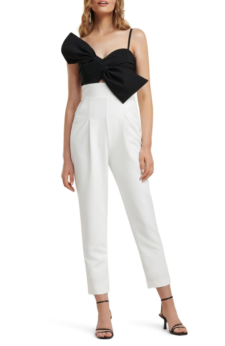 EVER NEW Two-Tone Bow Bodice Jumpsuit, Main, color, 001
