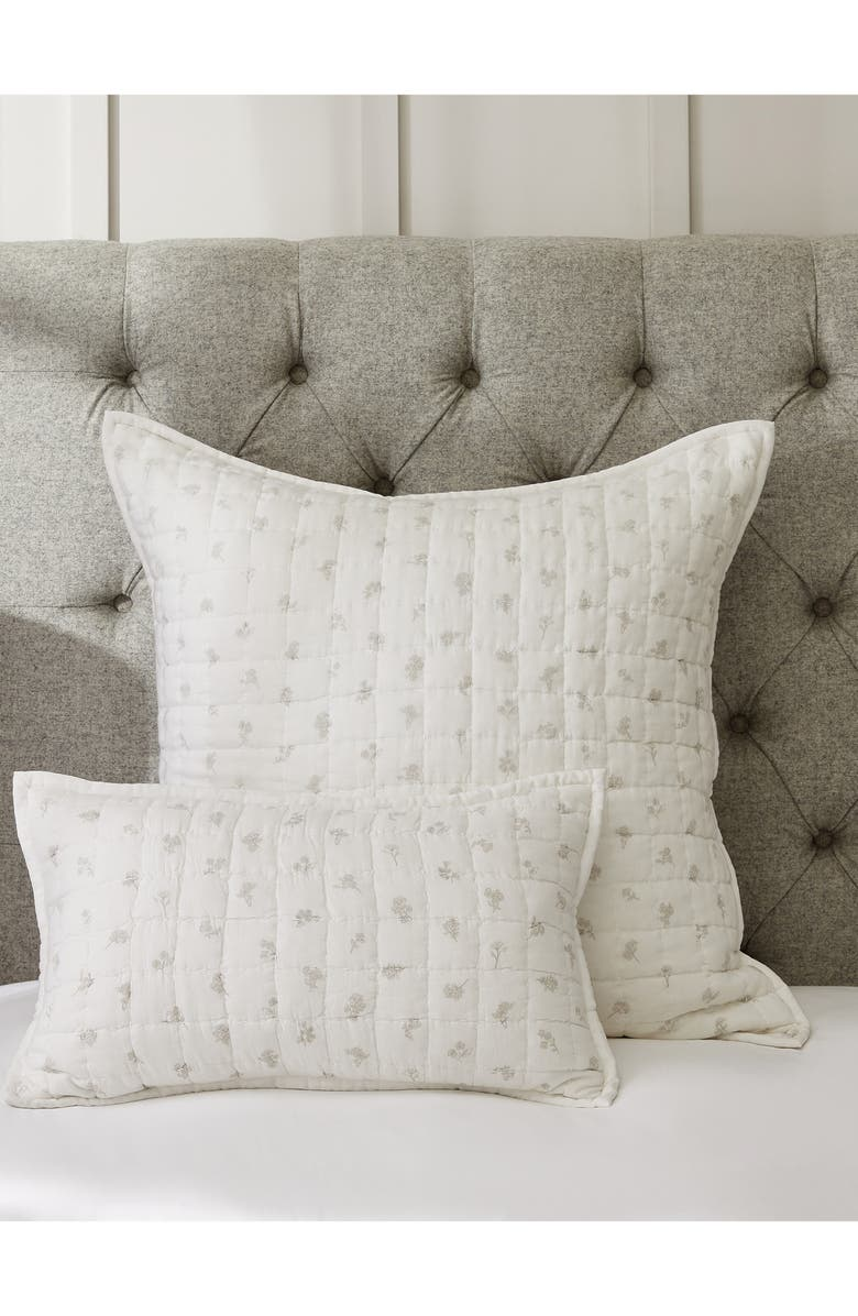 THE WHITE COMPANY Lille Floral Quilted Cushion Cover, Main, color, 100