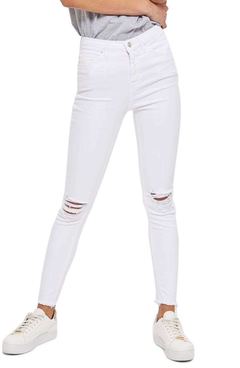 TOPSHOP Jamie High Waist Ripped Jeans, Main, color, 100