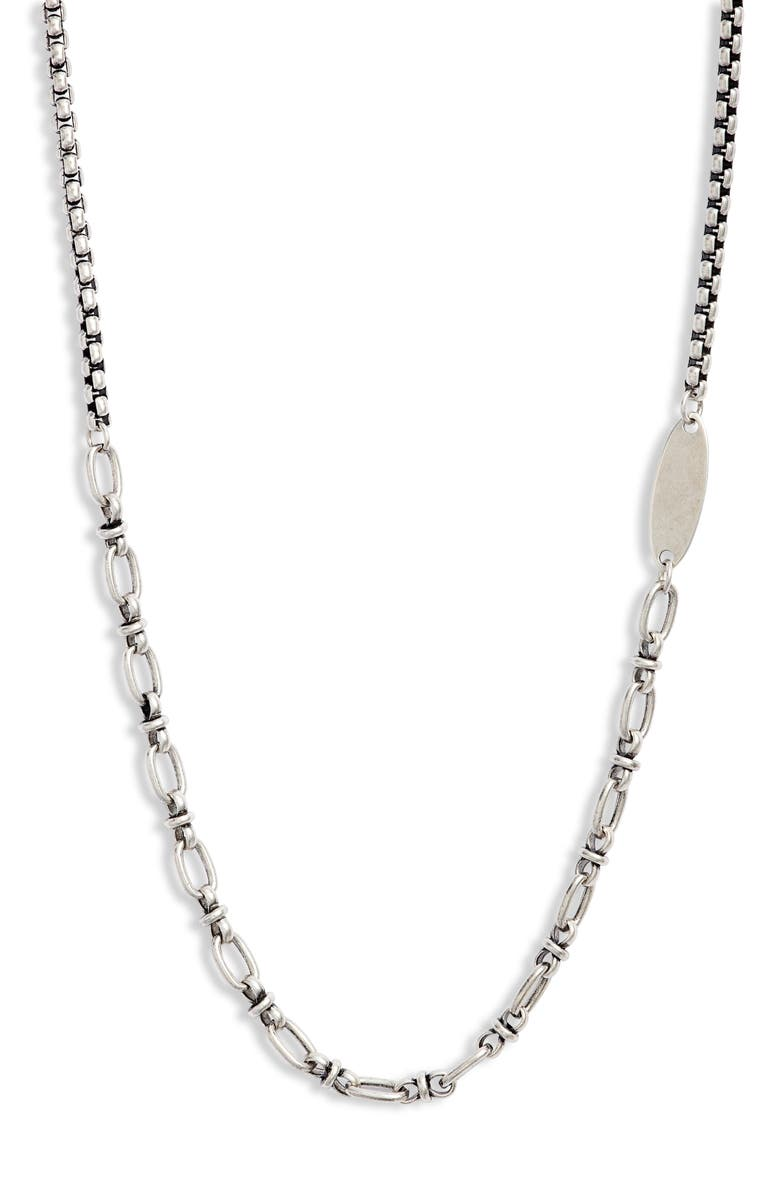 NORDSTROM Men's Oval Disc Station Chain Necklace, Main, color, SILVER