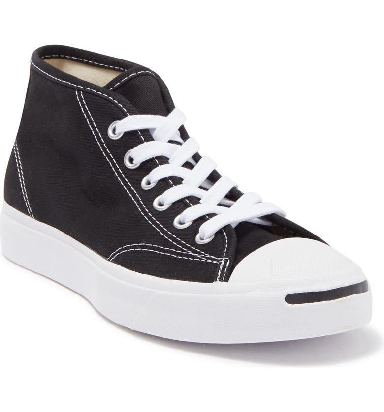CONVERSE Jack Purcell Mid Sneaker, Main, color, BLACK/ WHITE/ WHITE