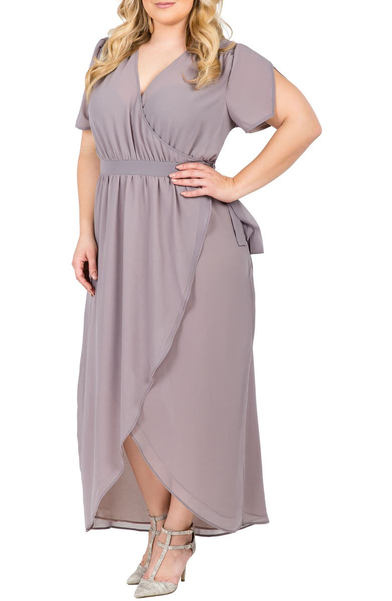 STANDARDS & PRACTICES Robin Wrap Maxi Dress, Main, color, STORM GREY