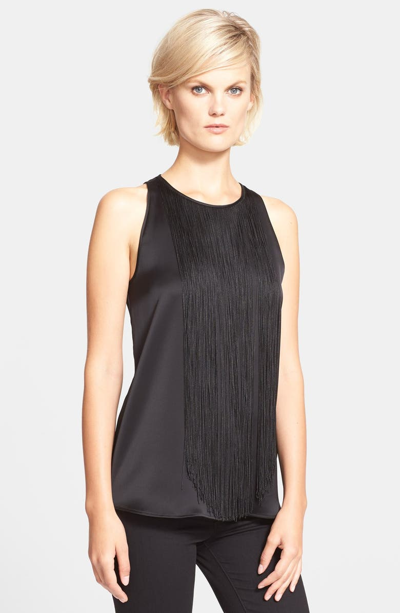 THEORY 'Montien' Fringe Silk Tank, Main, color, 001