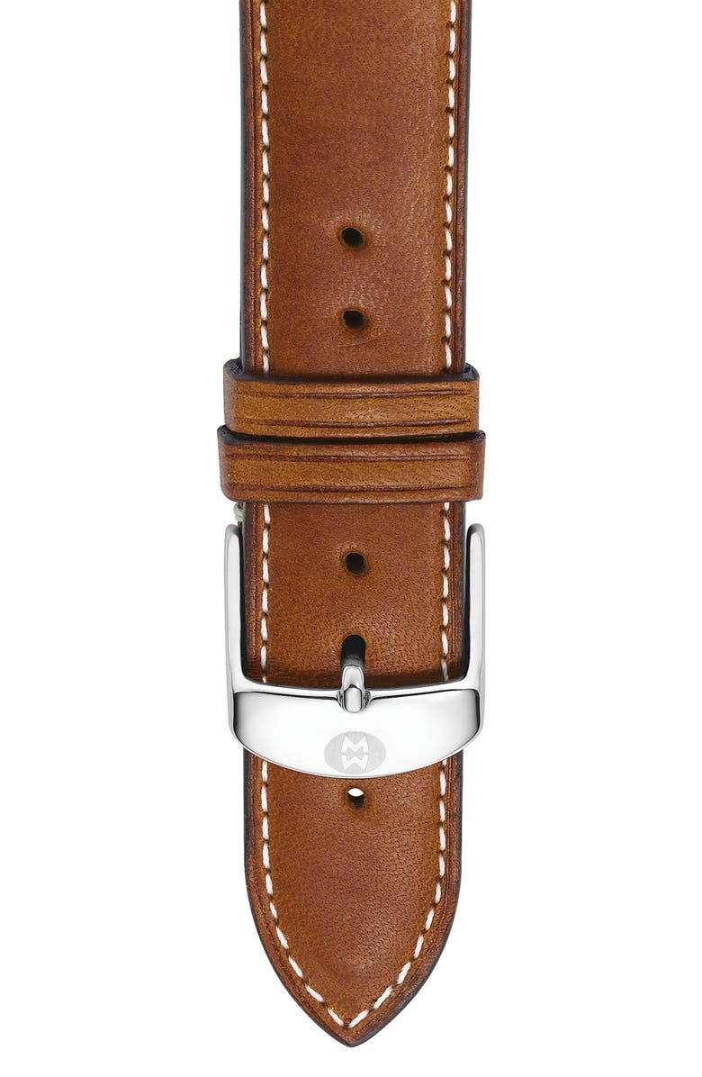 MICHELE 20mm Extra Long Leather Watch Strap, Main, color, 250