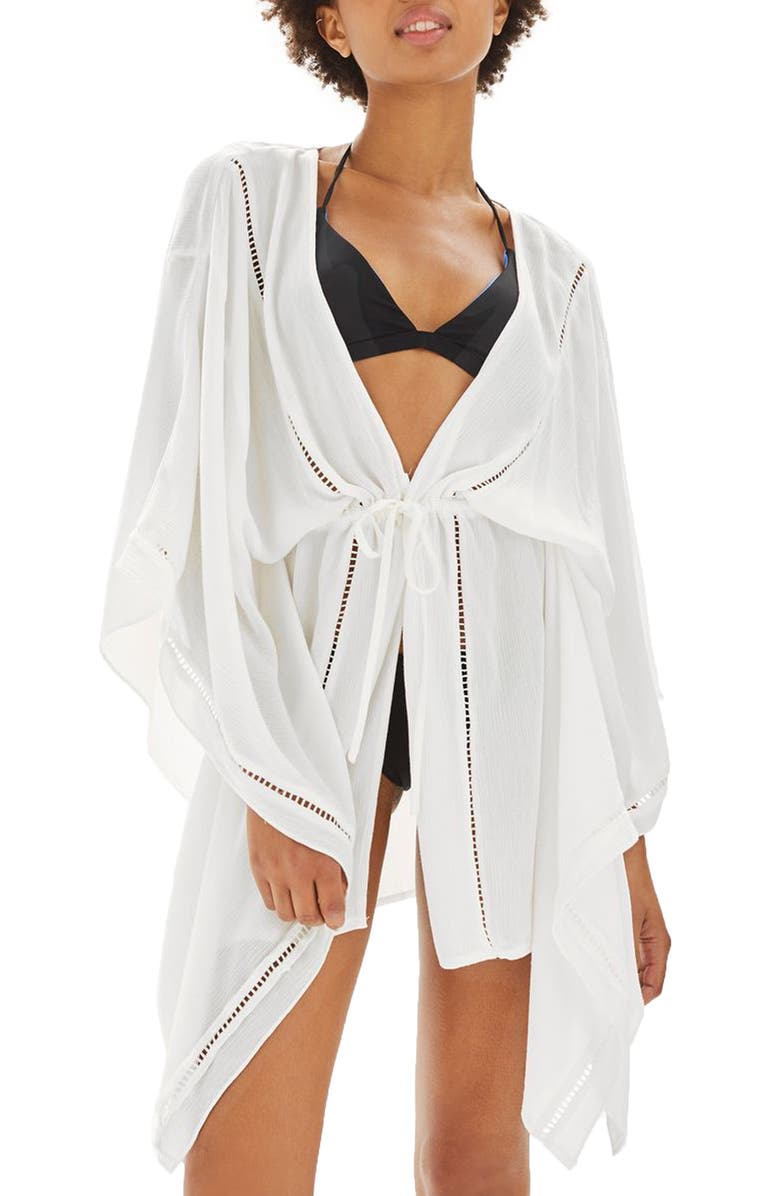 TOPSHOP Ladder Stitch Cover-Up Caftan, Main, color, White