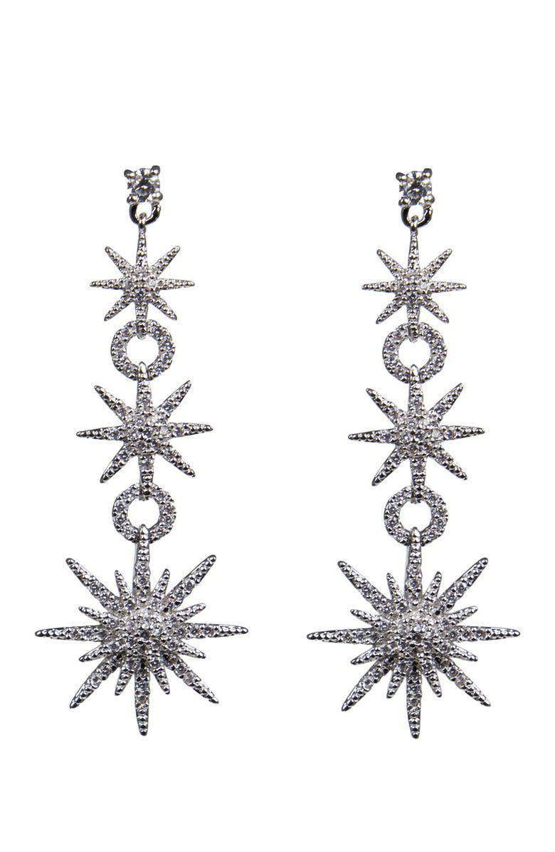 CZ BY KENNETH JAY LANE Pave CZ Celestial Star Drop Earrings, Main, color, CLEAR/SILVER
