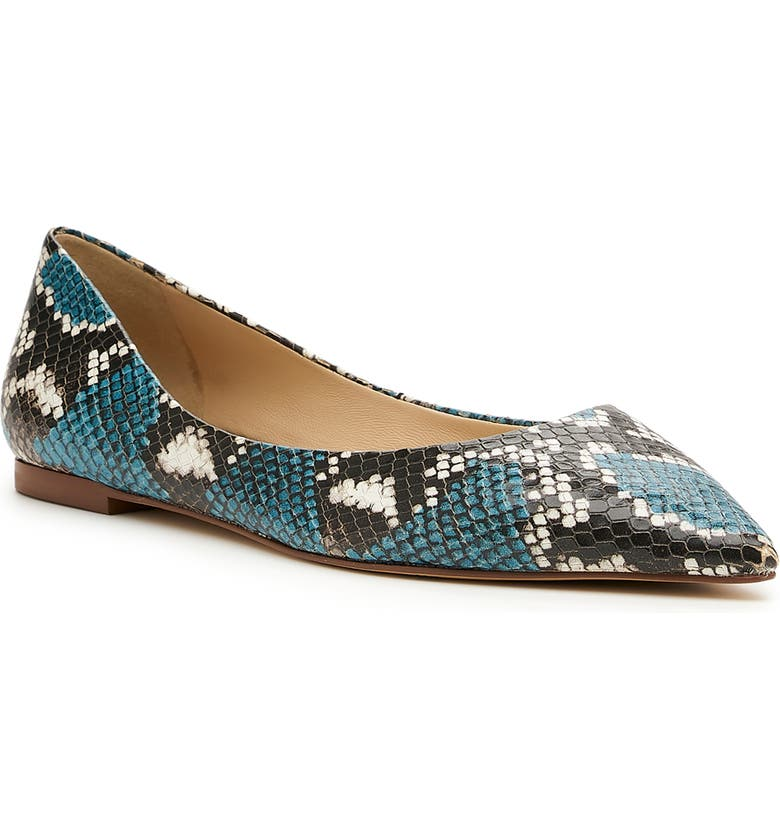 BOTKIER Annika Pointed Toe Flat, Main, color, BLUE SNAKE PRINT LEATHER