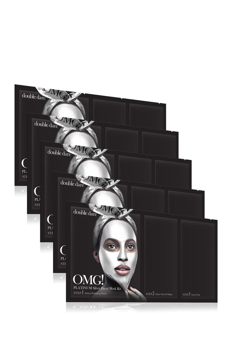 OMG DOUBLE DARE OMG Platinum Silver Facial Masks - Pack of 5, Main, color, NO COLOR