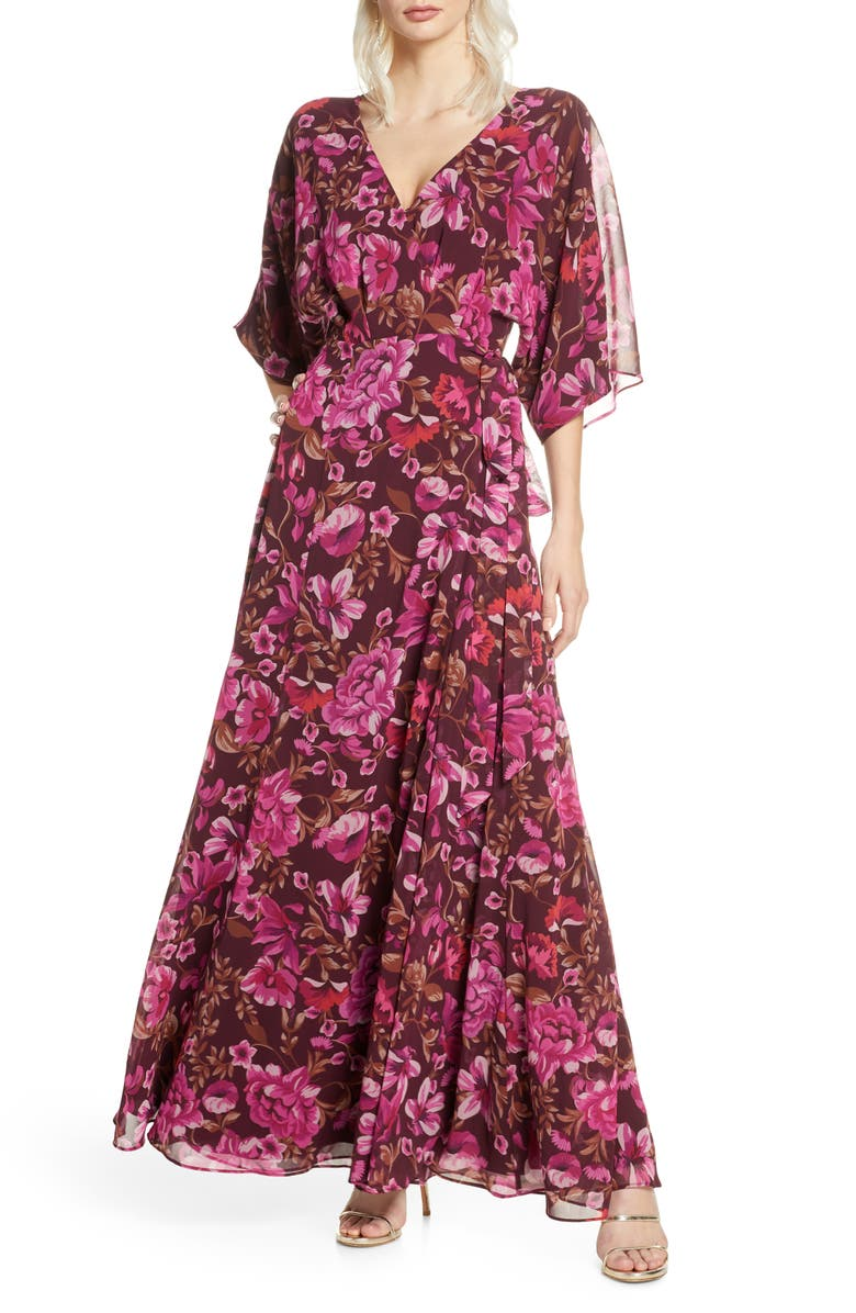 FAME AND PARTNERS The Jagger Floral Wrap Gown, Main, color, 600