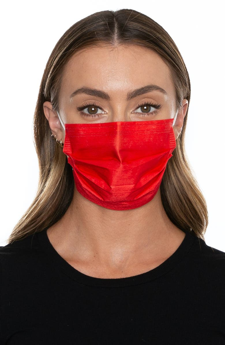 MEDIPOP 5-Pack Adult Disposable Pleated Face Masks, Main, color, NEON RED CORAL
