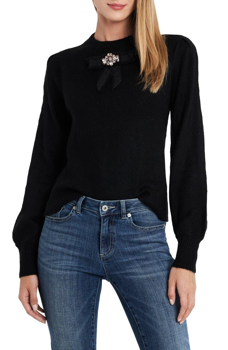 CECE Jeweled Bow Detail Sweater, Main, color, RICH BLACK