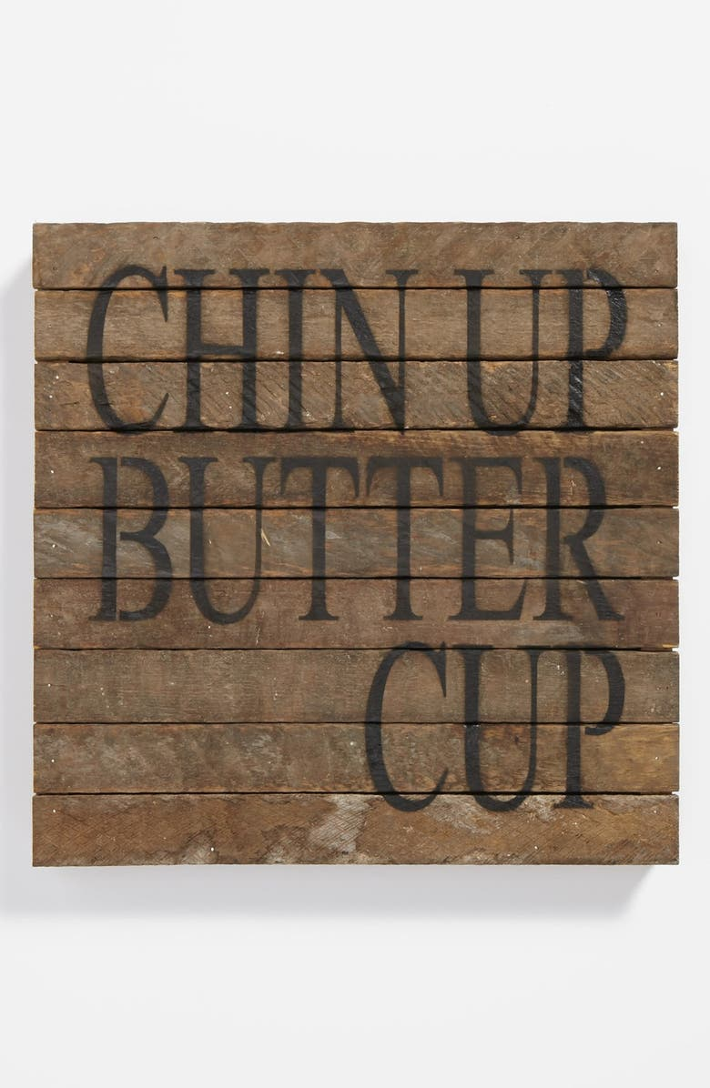 SECOND NATURE BY HAND 'Chin Up Buttercup' Repurposed Wood Wall Art, Main, color, Brown