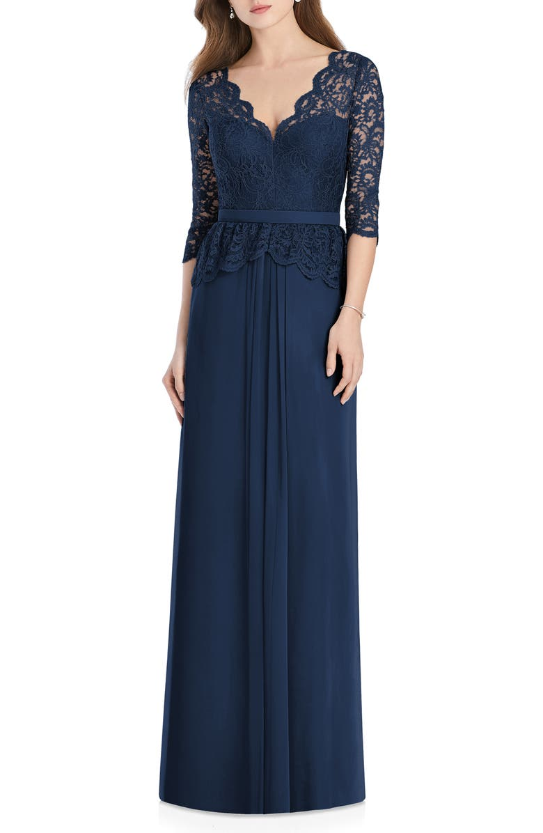 JENNY PACKHAM Lux Lace & Chiffon Column Gown, Main, color, 405