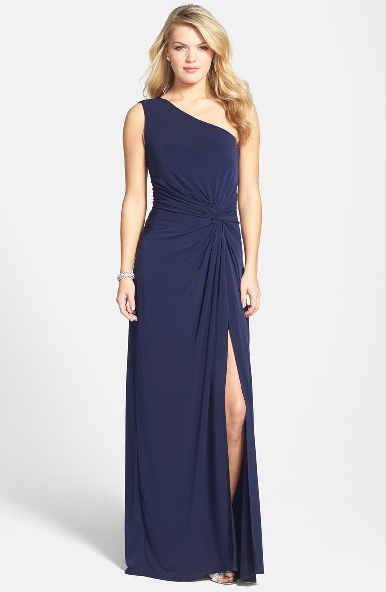 LAUNDRY BY SHELLI SEGAL Front Twist Jersey One-Shoulder Gown, Main, color, 466