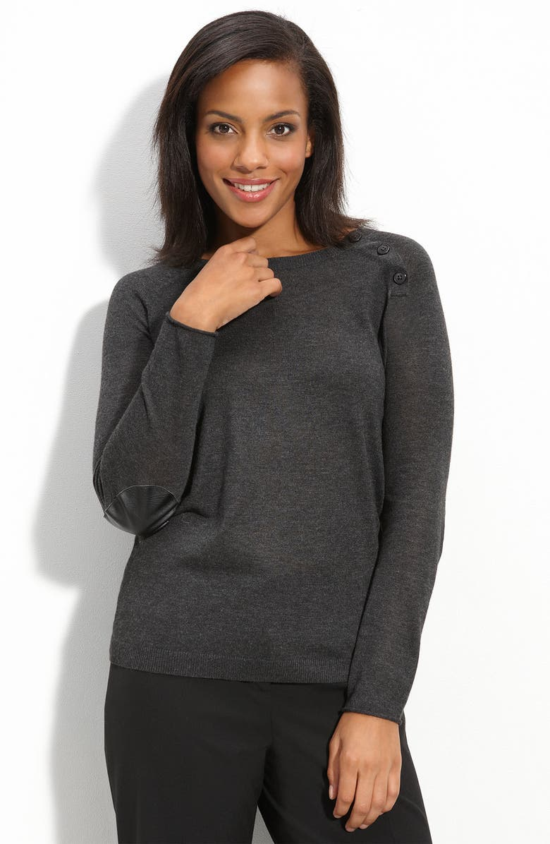 HALOGEN<SUP>®</SUP> Elbow Patch Sweater, Main, color, 020