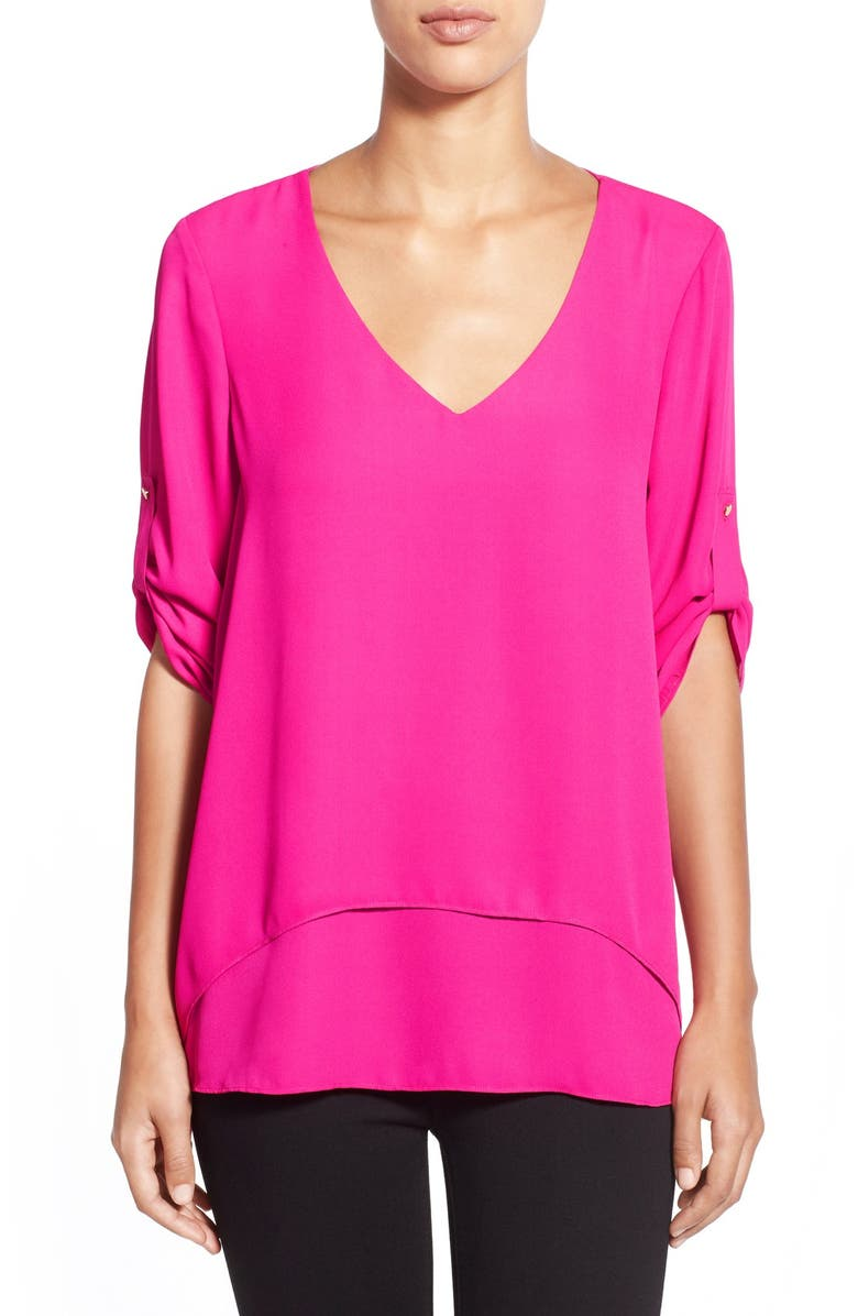 CHAUS Roll Sleeve Double Layer V-Neck Blouse, Main, color, 662