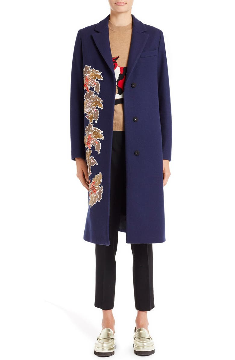 MSGM Floral Embroidered Wool Blend Coat, Main, color, 400