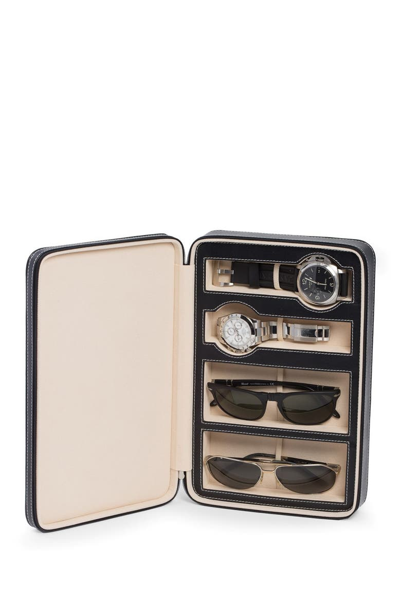 BEY BERK Black Leather Two Watch & Two Sunglass Travel Case, Main, color, BLACK