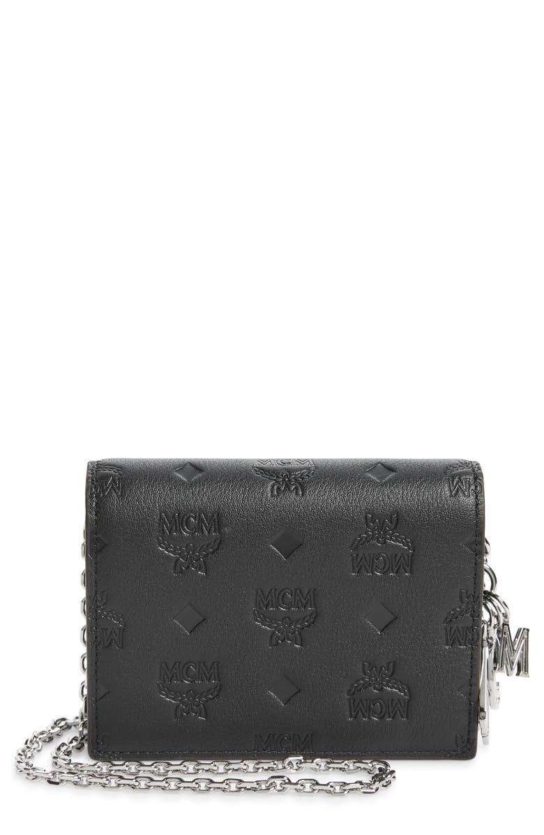 MCM Klara Monogram Leather Wallet on a Chain, Main, color, 001