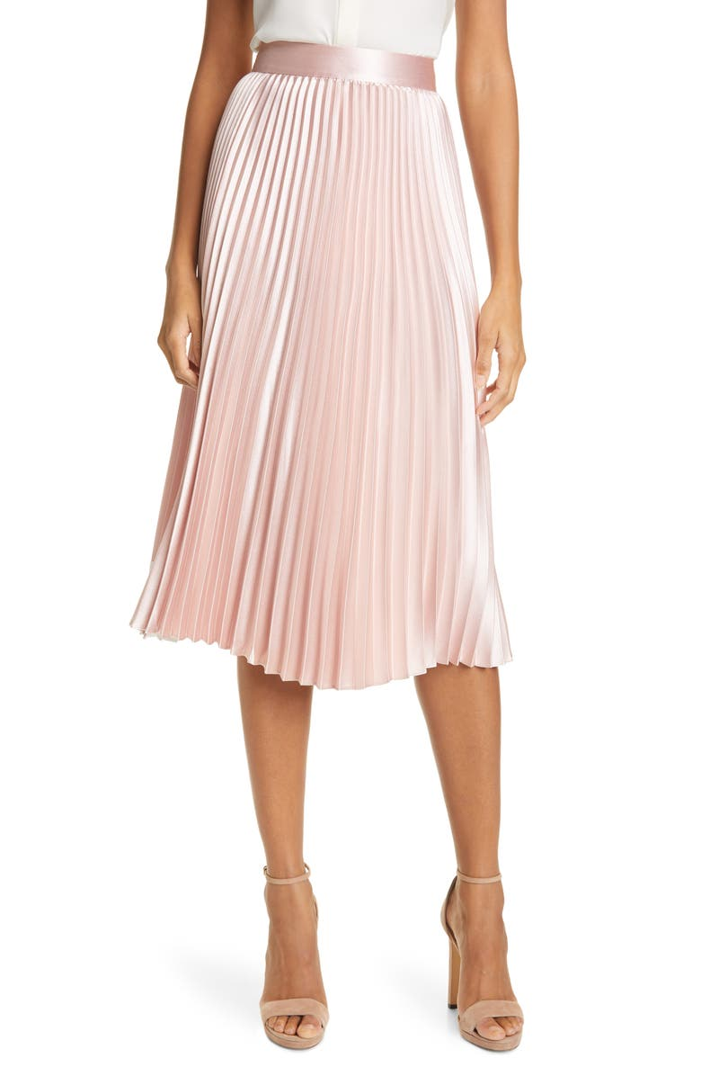 TED BAKER LONDON Glaycie Colorbock Detail Pleated Skirt, Main, color, PALE PINK