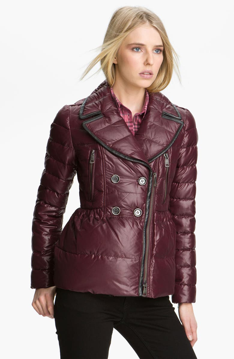 BURBERRY BRIT Quilted Down Puffer Jacket, Main, color, MAHOGANY RED