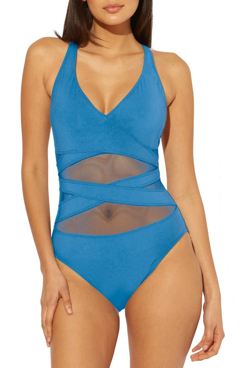 BLEU BY ROD BEATTIE Don't Mesh With Me One-Piece Swimsuit, Main, color, MIRAMAR BLEU