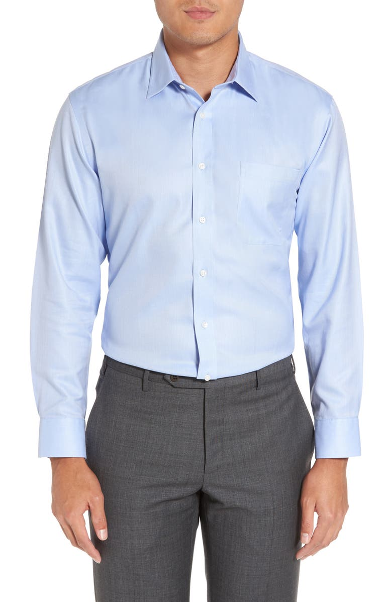 NORDSTROM Mens Shop Smartcare<sup>™</sup> Trim Fit Herringbone Dress Shirt, Main, color, BLUE
