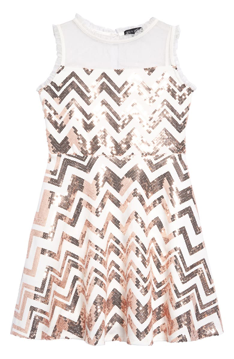 AVA & YELLY Zigzag Sequin Illusion Neck Dress, Main, color, 900