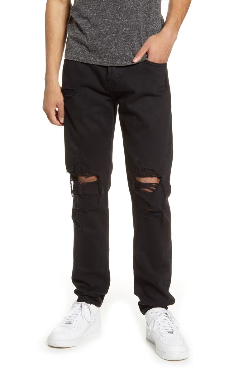 7 FOR ALL MANKIND<SUP>®</SUP> Paxtyn Ripped Skinny Fit Jeans, Main, color, BLACK DESTROY