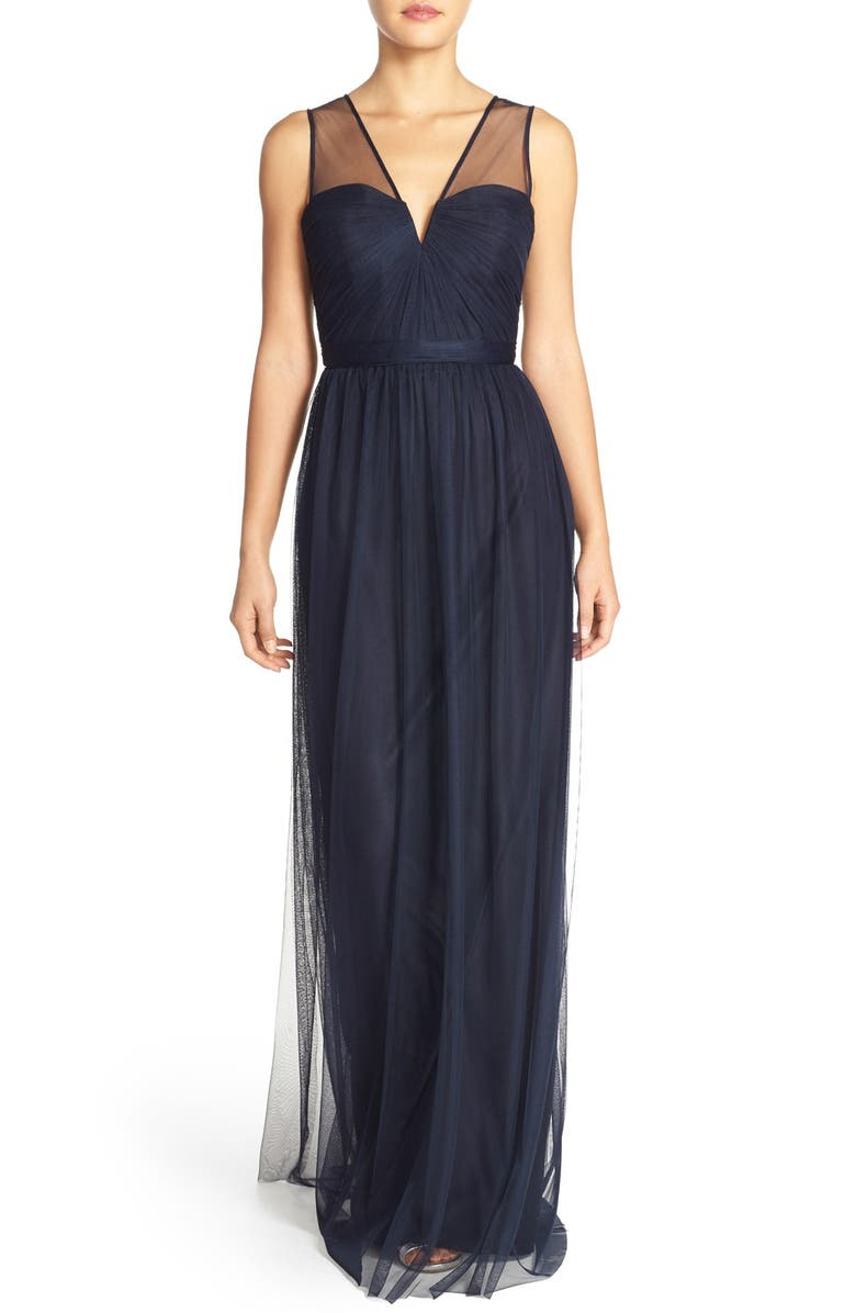 AMSALE 'Alyce' Illusion V-Neck Pleat Tulle Gown, Main, color, 410