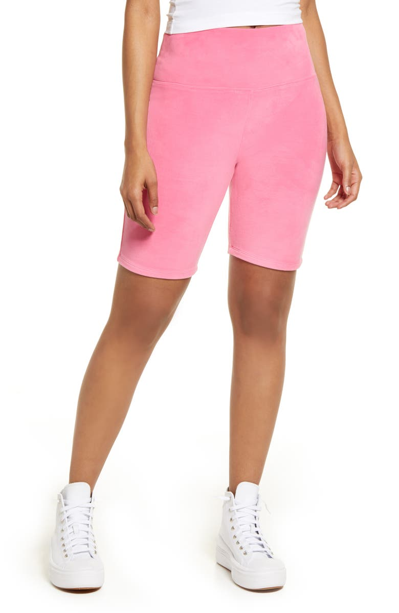 BP. Be Proud by BP Gender Inclusive Velour Bike Shorts, Main, color, PINK CALIENTE RHINE BUTTERFLY