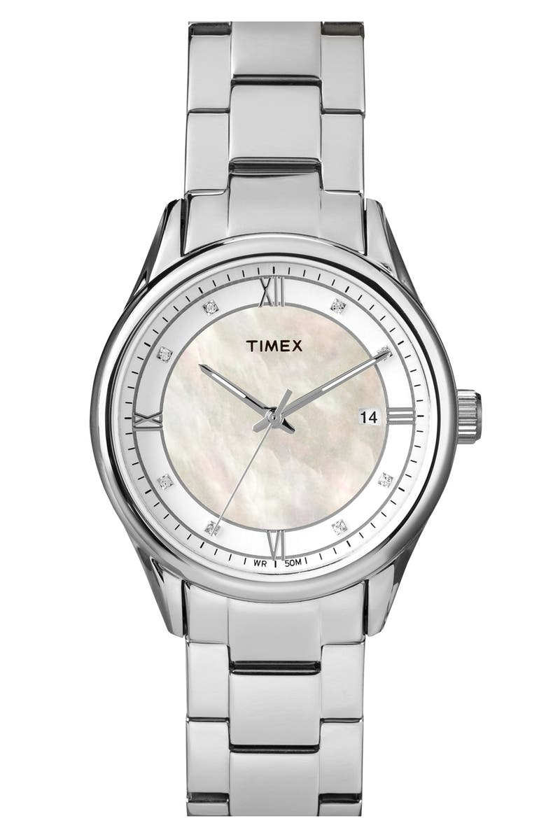 TIMEX<SUP>®</SUP> Mother of Pearl Dial Bracelet Watch, 36mm, Main, color, 040
