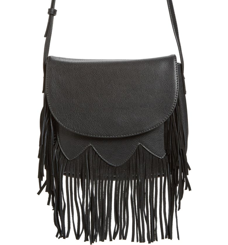 SOLE SOCIETY 'Kerry' Fringe Faux Leather Crossbody Bag, Main, color, Black