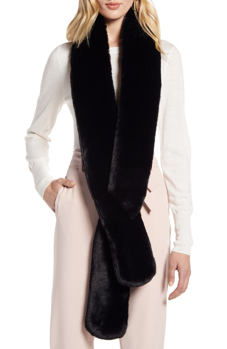 HALOGEN<SUP>®</SUP> Faux Fur Skinny Scarf, Main, color, 001