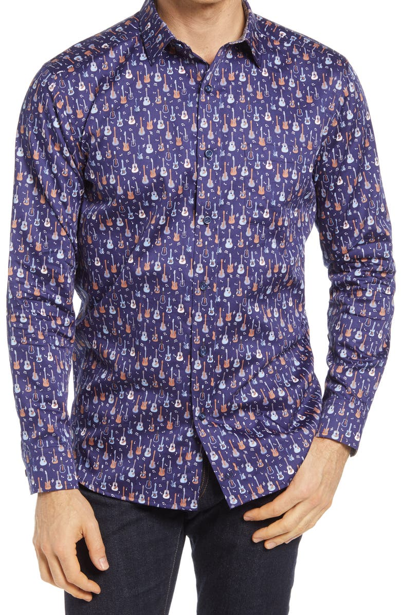 JOHNSTON & MURPHY Mixed Guitar Print Button-Up Shirt, Main, color, NAVY
