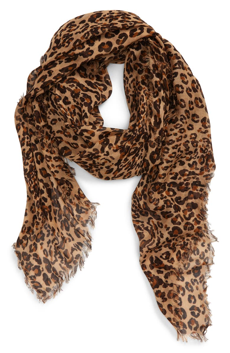 MADEWELL Literal Leopard Print Scarf, Main, color, 200